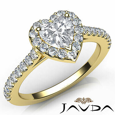 Halo U Cut Prong Set Heart Shape Diamond Engagement Ring GIA Certified F VS2 1Ct 7
