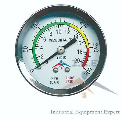 Air Compressor Pressure Hydraulic Gauge 2 Face Back Mount 14 Npt 0-300 Psi