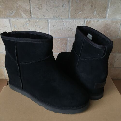 UGG CLASSIC FEMME MINI BLACK SUEDE WEDGE ANKLE BOOTS BOOTIES