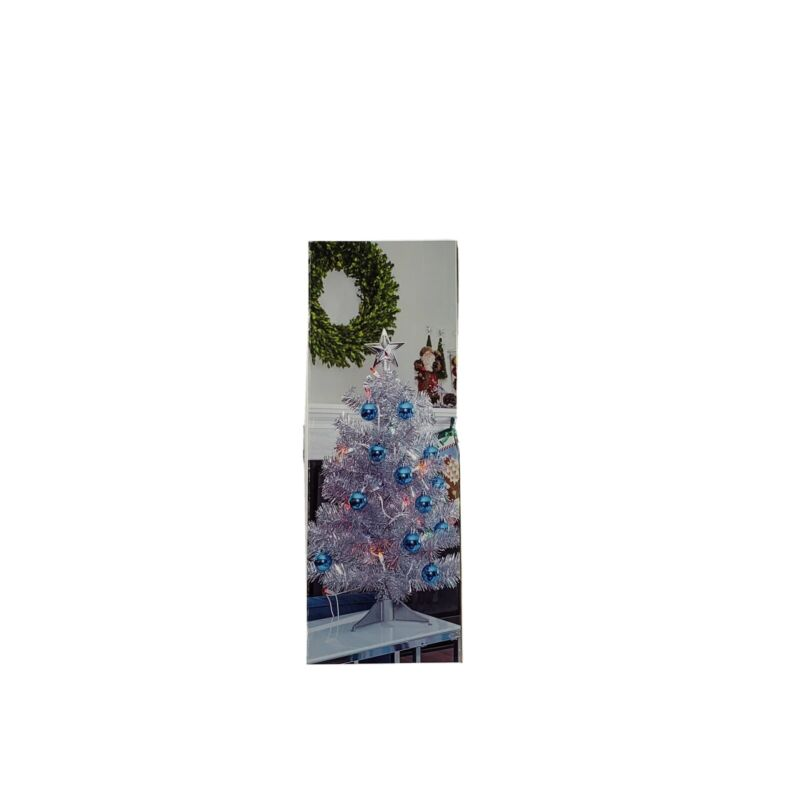 HUNTINGTON HOME HOLIDAY 2 FOOT DECORATED LIGHTED CHRISTMAS Blue Ornaments