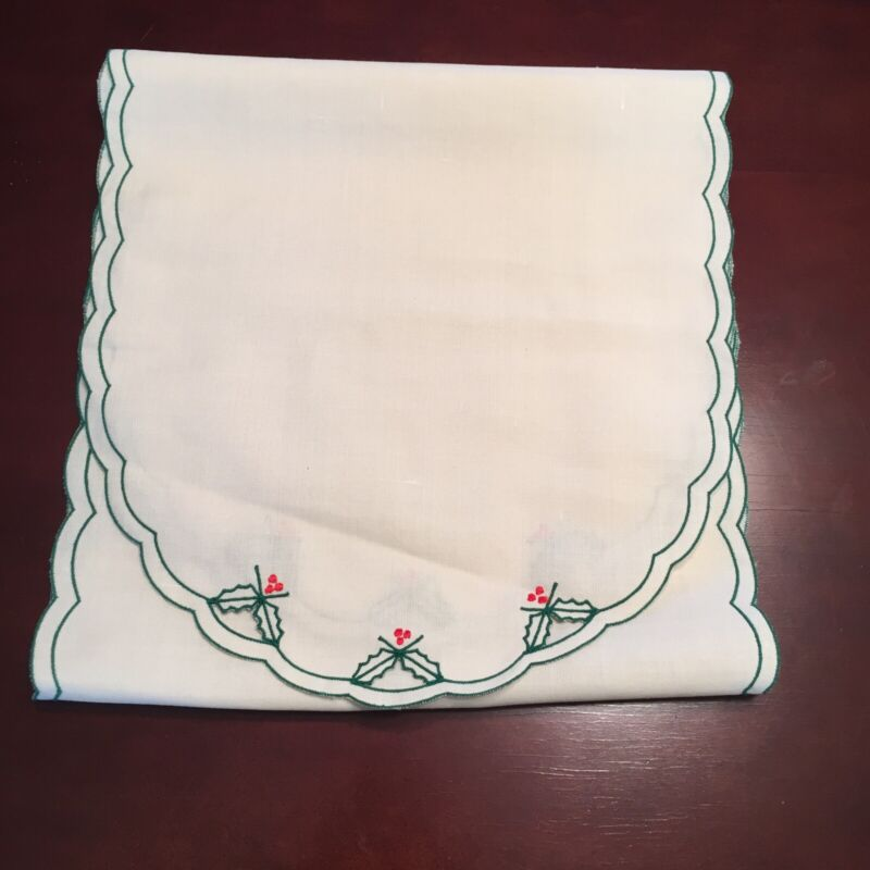 "Christmas Green Holly and Red Berries on Lt Beige Table Runner 13"" x 52"""