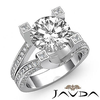 Trellis Style Split Shank Round Cut Diamond Engagement Pave Ring GIA I VS2 2.5Ct