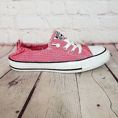 Pink Low Top Converse All Star Slip On Shoes Elastic Heels Women's 7 Sneakers