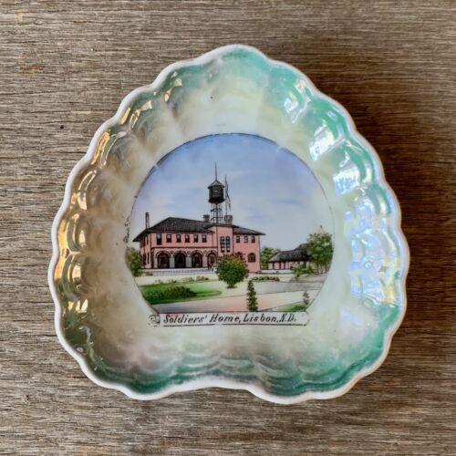 Vintage SOLDIERS HOME Souvenir China SHELL Pin Tray Dish LISBON North Dakota