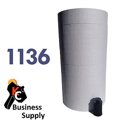 Removeable White Labels For Monarch 1136 And 1138 Price Gun 1 Sleeve 8 Rolls