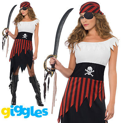 Adult Pirate Wench Costume Womens Buccaneer Ladies Halloween Fancy Dress Outfit - Pirate Wench Outfit