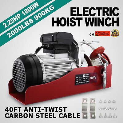 2000lb Electric Overhead Motor Lift Hoist Garage Engine Winch Crane Automobile