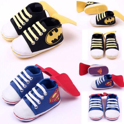 Newborn Baby Kids Boys Superhero Canvas Shoes Prewalker Walk