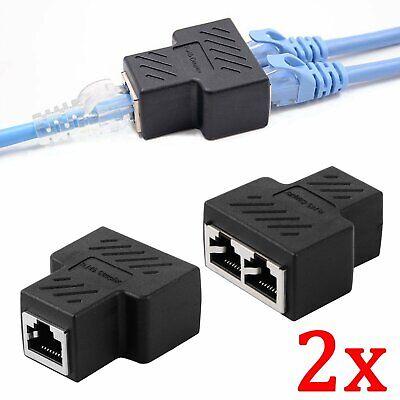 2 Pcs 1 à 2 Voies RJ45 LAN Réseau Câble Femelle Splitter Connecteur Adaptateur