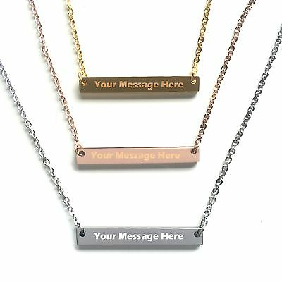 Personalized Custom Free Engraved Name Bar Necklace ()