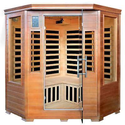 3-Person Hemlock Corner Infrared Sauna w/ 7 Carbon Heaters