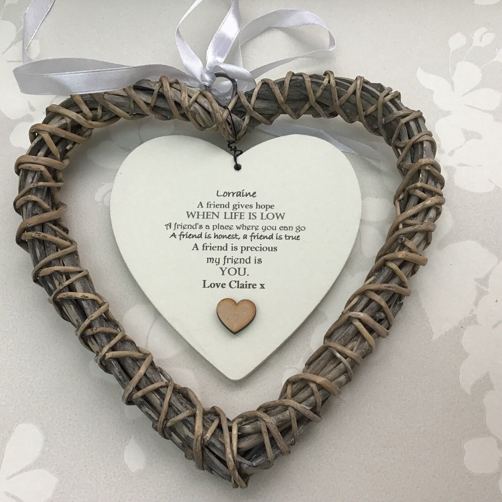 Shabby personalised Chic Special BEST Friend ~ ANY NAME Willow Heart Present BFF - 332886048629