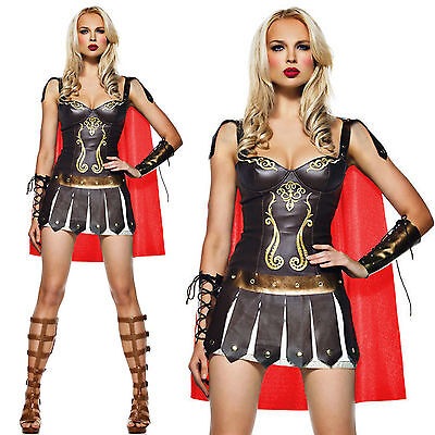 Ladies Xena Gladiator Warrior Princess Roman Spartan Fancy Dress Costume & Cape - Xena Princess Warrior Costume