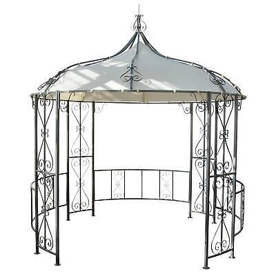 Pergola Almeria, Rundpavillon Garten Pavillon, stabiles Stahl-Gestell Ø 3m