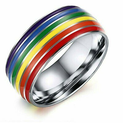 LGBT Pride Gay Lesbian Pride Ring Rainbow Enamel Color Unisex 8mm Wedding Band Fashion Jewelry