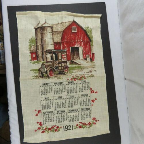VTG Hickory Farms 1921 Calendar Linen Barn Model T Red Browns Rod Pocket