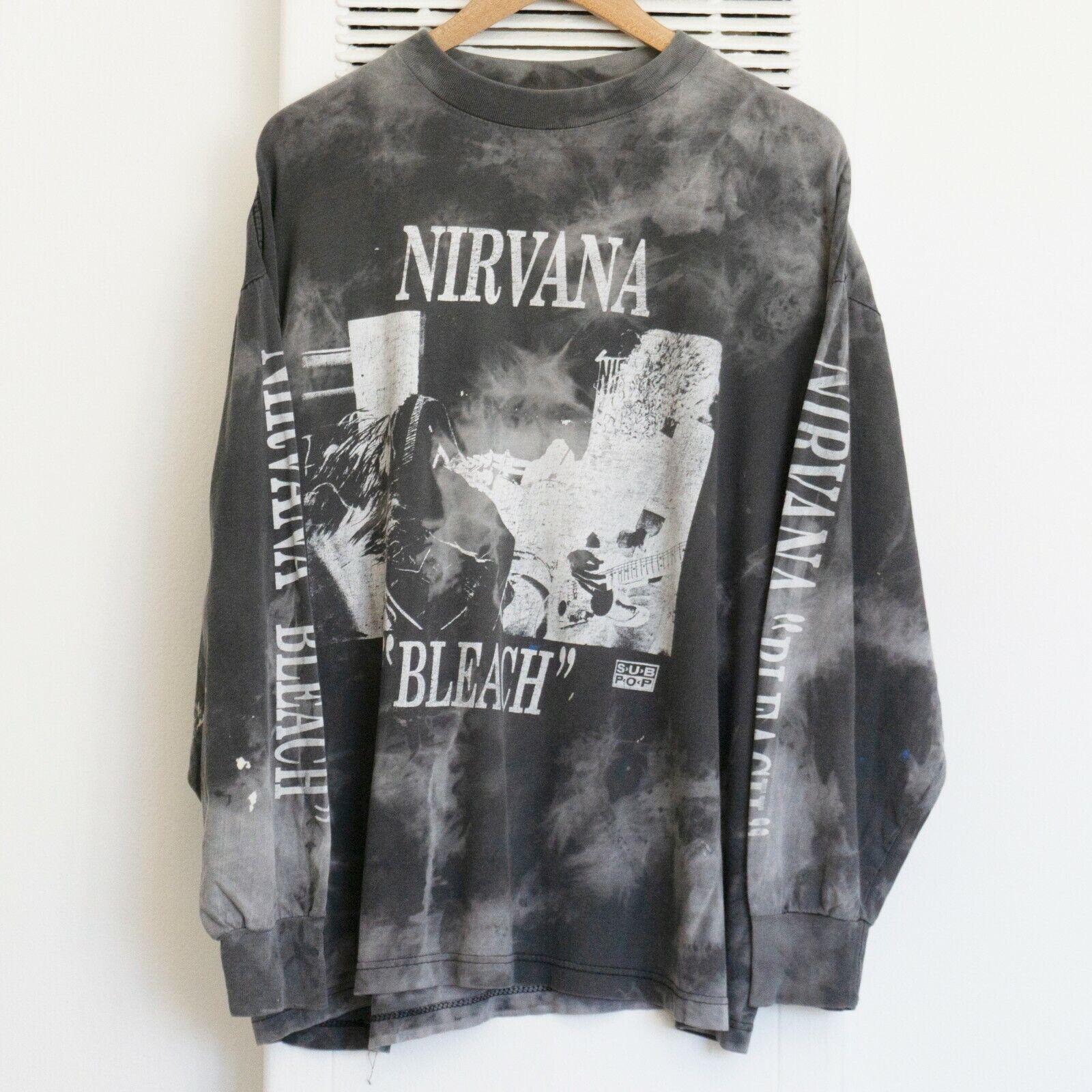 "Vintage 90s Nirvana ""Bleach"" Long Sleeve T-shirt Tie Dye Bjork Dinosaur Jr"