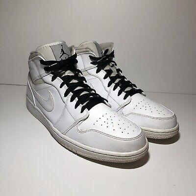 49b7a458ea Nike Air Jordan 1 Mid White Basketball Shoes 554724 110 Men's US Size 13