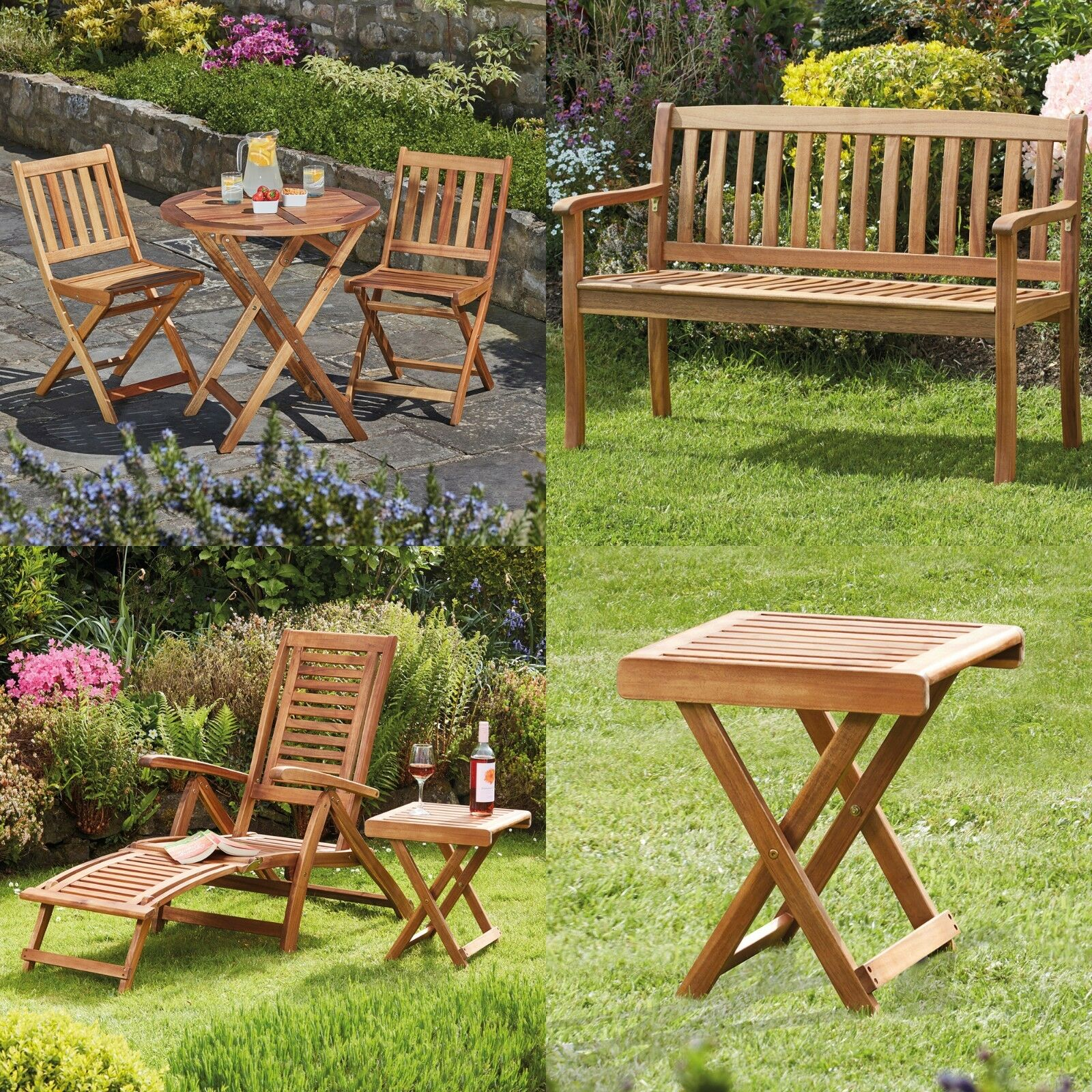 Garden Furniture - Garden Life Furniture Bistro Set, Bench, Sun Lounger Deck Chair & Foldable Table