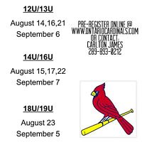 Ontario Cardinals Elite Baseball Tryouts