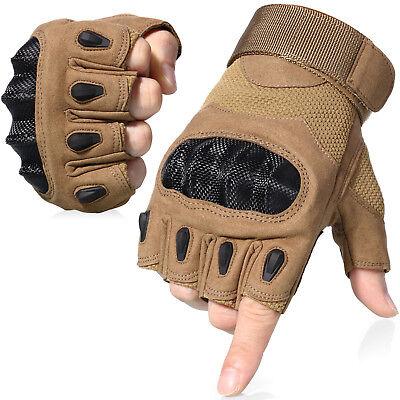 Finger Assault Gloves - Assault Hard Knuckle Half Finger Tactical Gloves Fingerless Motorcycle Cycling