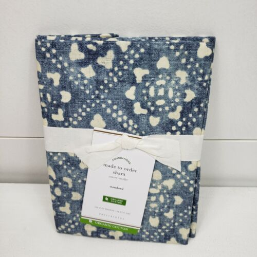 NEW Pottery Barn Leada Pillow Sham Standard Size Blue White NWT