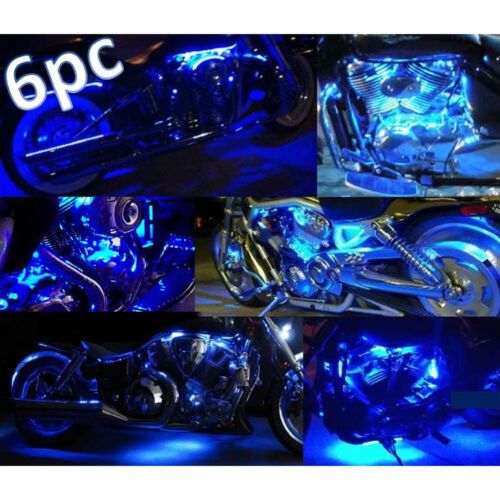 Motorcycle 6Pc Blue LED Frame Accent Glow Lights Flexible Neon Strips Body Kit
