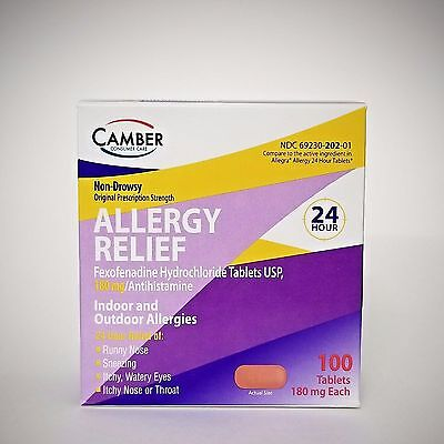 FEXOFENADINE 180mg Allergy Relief (generic Allegra) - 30 or 100 Tablets