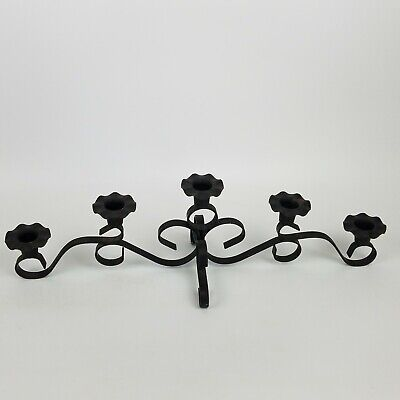 Black 5 Arm Candle Holder Coffee Table Centerpiece Fireplace Mantle Rustic - Coffee Table Centerpieces