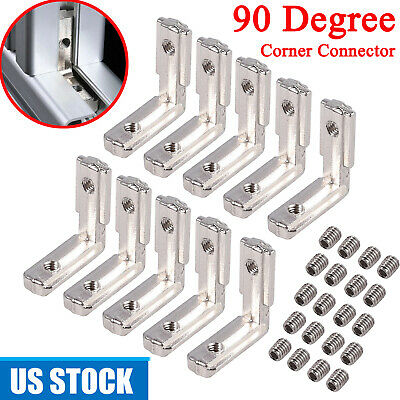 10pcs T-slot L-shape Aluminum Brackets Interior Corner Connector 90 Degree 2020