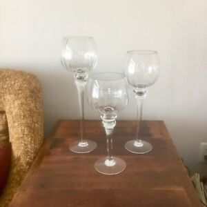 3 CLEAR GLASS TEALIGHT HOLDERS