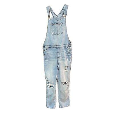 Vintage Overalls & Jumpsuits American Eagle TomGirl Bib Denim Overalls Jeans Women's Sz Large Light Wash $49.99 AT vintagedancer.com