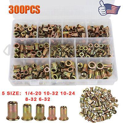 300x Sae Zinc Steel Rivet Nut Kit Rivnut Tool Nutsert Assort 14-20 Thread 5size