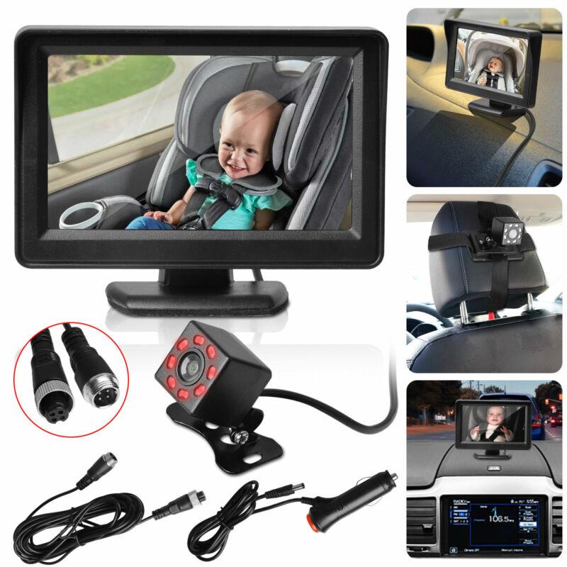 "Car Back Seat Rear Mirror Camera Baby Monitor 4.3"" HD Screen Night Vision w/Belt"