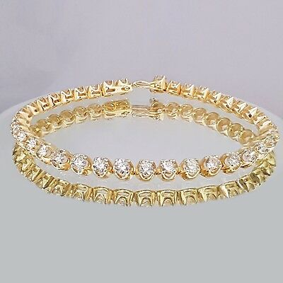 7.50ct ROUND CUT DIAMOND TENNIS BRACELET 14K YELLOW GOLD F VS1 CERTIFIED
