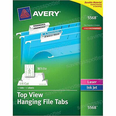 72 Ct. Avery Top View Hanging File Folder Tabs 15 Cut Laserinkjet White Green