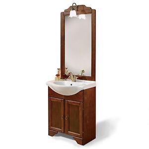 Mobile bagno arte povera legno lavabo cm65 con specchio applique arredo classico - Applique per specchio bagno classico ...