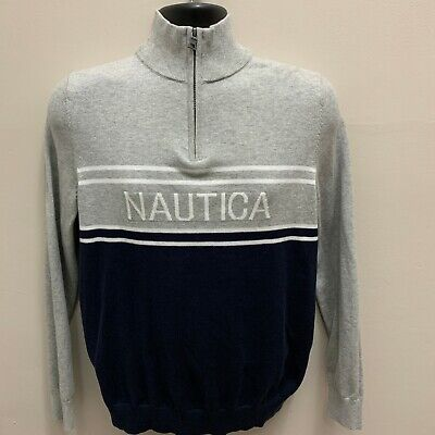 Nautica Mens 1/4-Zip Pullover Sweater Small Gray MSRP $98 NEW