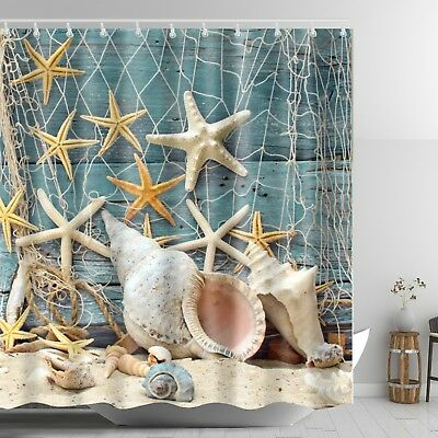 Seashell Beach Shower Curtain Starfish Conch Waterproof Fabric Set 72 inch