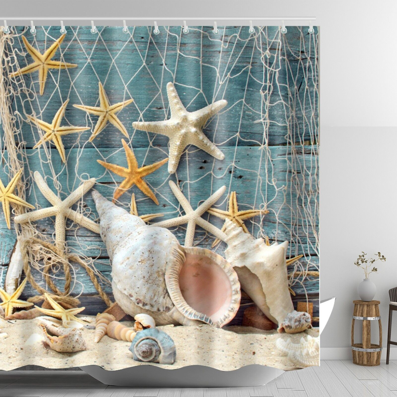 Details About Seashell Beach Shower Curtain Starfish Conch Waterproof Fabric Set 72 Inch
