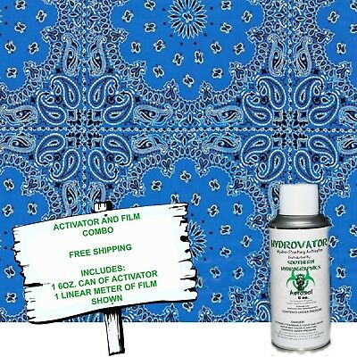 Hydrographic Film Water Transfer Hydro Dip 6oz. Activator W Blue Bandanna Kit