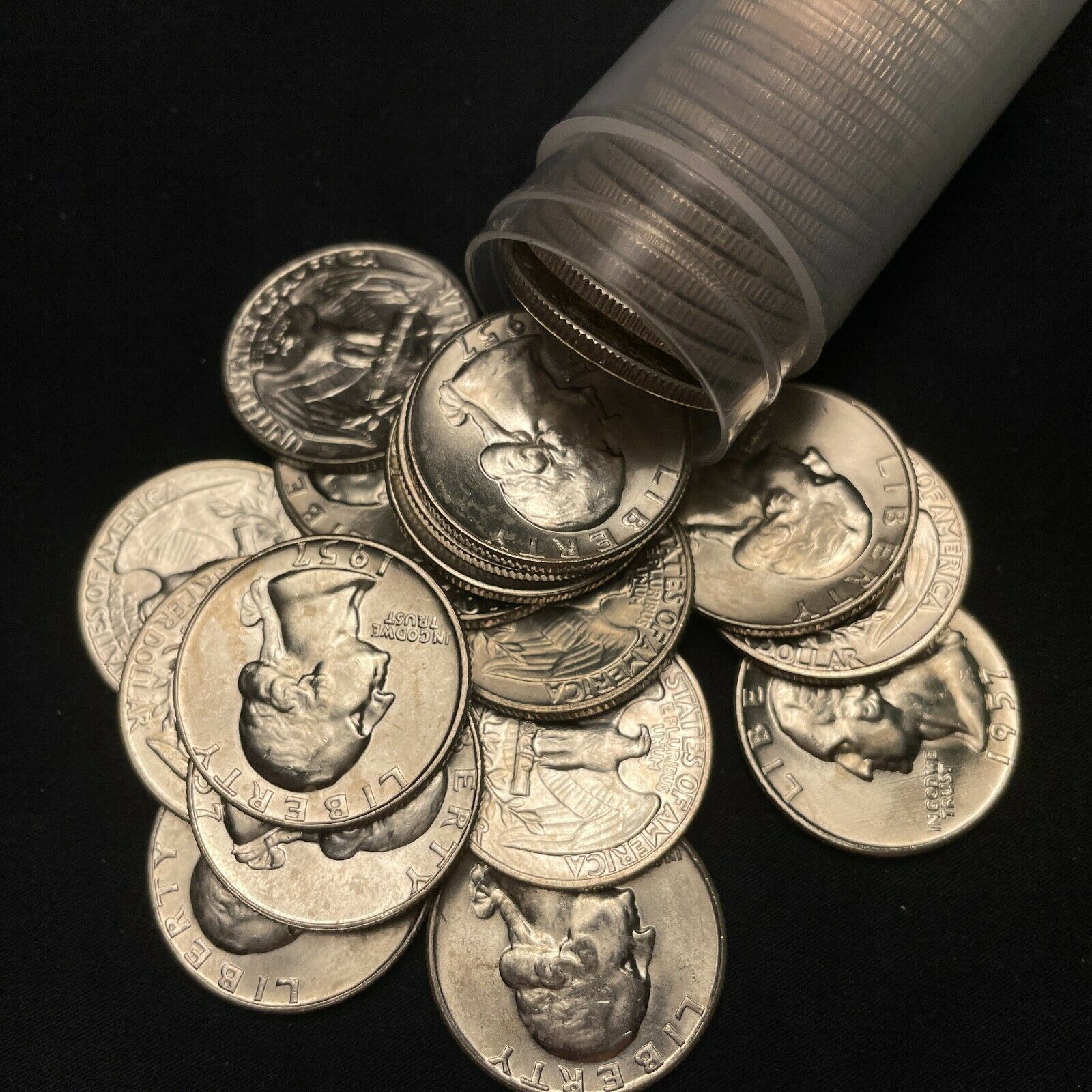 1957-D BU Uncirculated Washington Silver Quarter Original Roll, 40 Coins  - $307.99