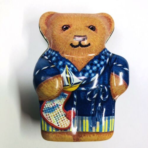 Dana Kubick Hunky Dory Christmas Bear in Robe Tin Collectible England 2.5in