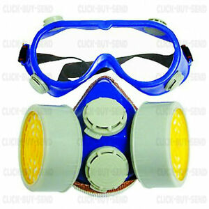 RESPIRATOR-FACE-MASK-DUST-MASK-MASKS-TWIN-GAS-CARTRIDGE-WITH-SAFETY-GOGGLES-NEW