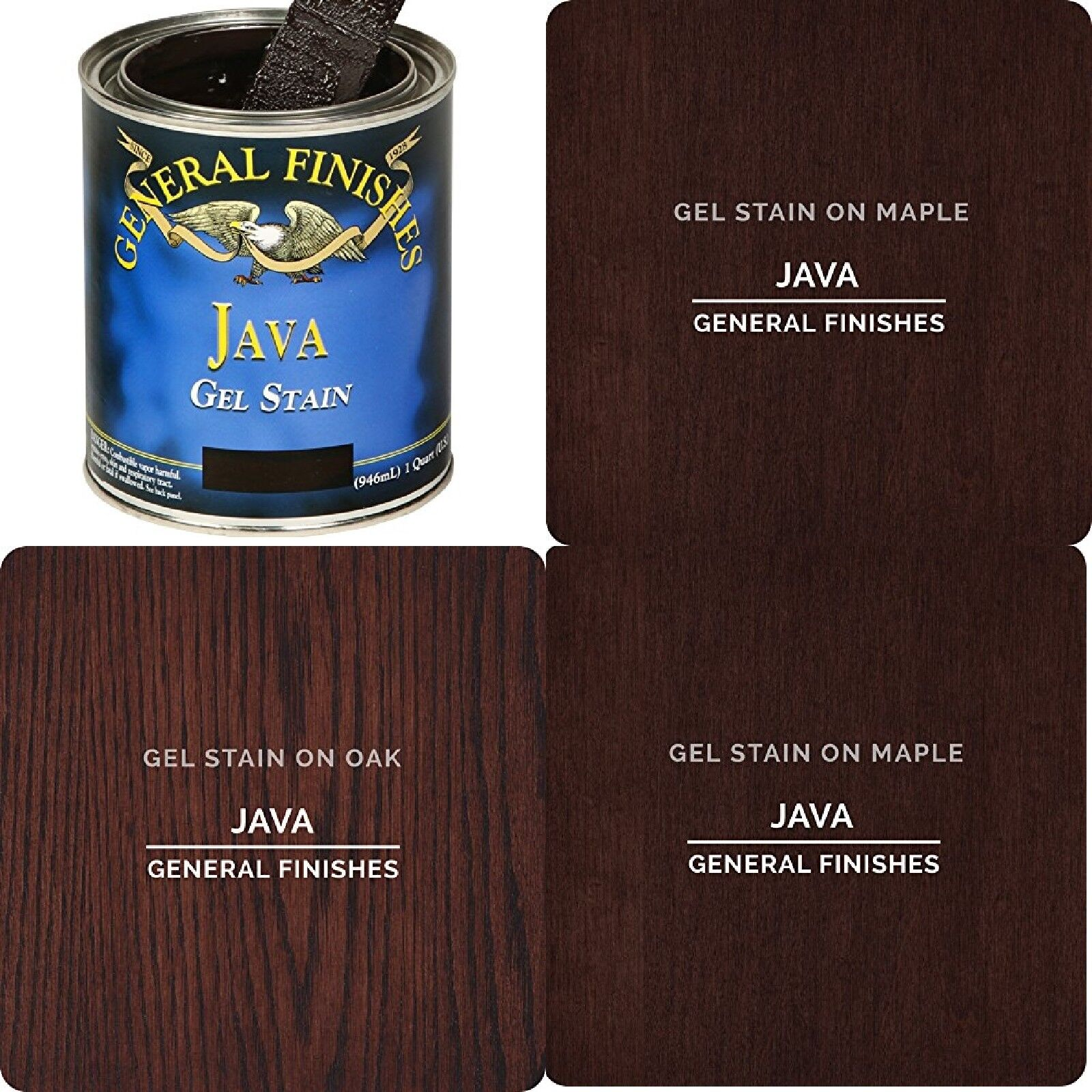 JH Gel Stain 1/2 Pint Java Woodworkers Finish That Shows Up Love The Lustrous - $23.32