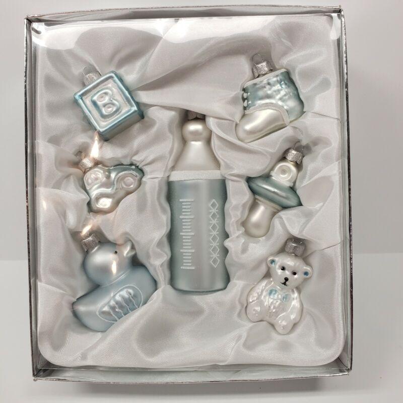 Sentimental Memories Blue Baby Boy Infant Christmas Ornament Set Bottle Duck