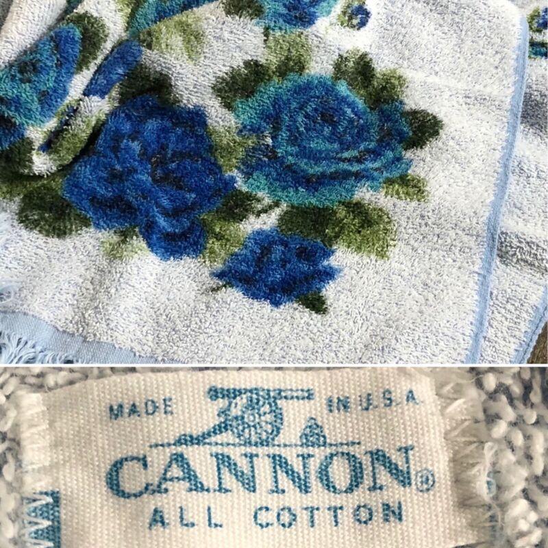 Vintage Cannon All Cotton Set of 2 Bath Towels Blue Floral Fringe