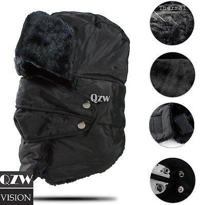 Mens Winter Hat Trapper Aviator Russian Trooper Earflap Warm Snow Ski Mask Cap Winter Ski Earflap