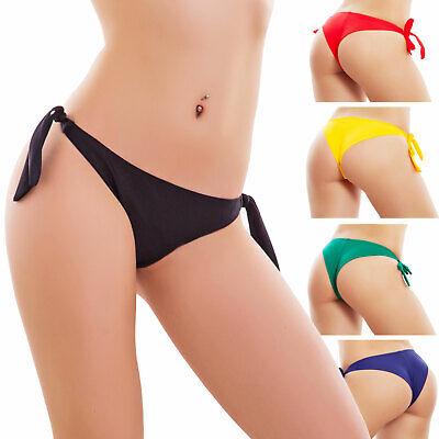 Badeanzug Frau Brasilianisch Slip Bikini Stück Unten Meer Schnürsenkel (Schwarze Bademode Unten)