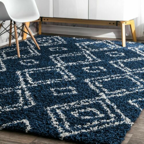 nuLOOM Contemporary Modern Geometric Shag Area Rug in Navy B